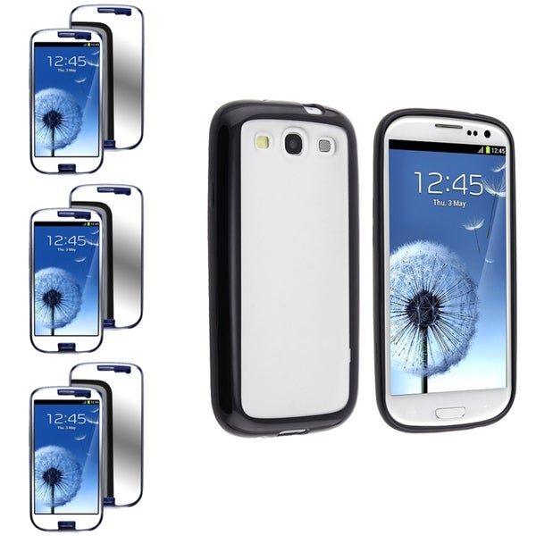 BasAcc Clear Case with Black Trim/Mirror Screen Protector for Samsung© Galaxy S3