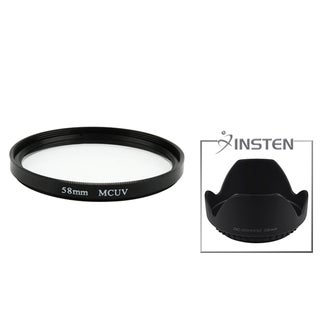 INSTEN 58-mm Multi-Coated UV Filter/ Lens Hood for Canon Rebel T3