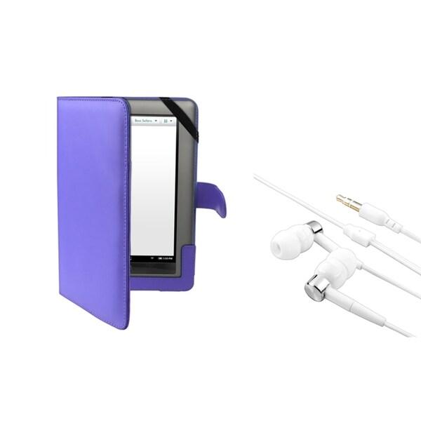 BasAcc Blue Leather Case/ Headset for Barnes & Noble Nook Tablet