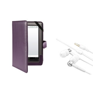 BasAcc Purple Leather Case/ Headset for Barnes & Noble Nook Tablet