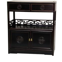 Rosewood Antique Black Long Life Display Cabinet (China)