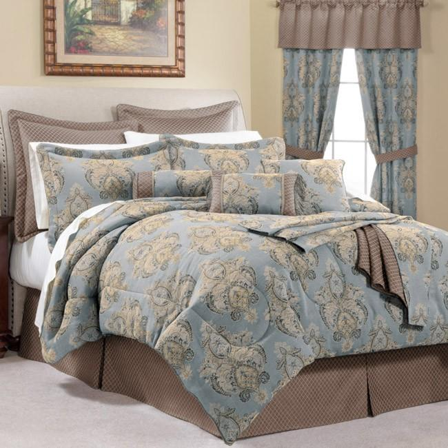 belissimo blue queen size 25 piece room in a bag with sheet set 13452852. Black Bedroom Furniture Sets. Home Design Ideas