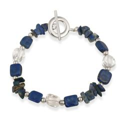 Glitzy Rocks Sterling Silver Lapis and Crystal Bracelet