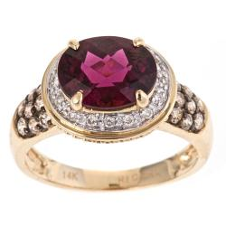 D'Yach 14k Gold Rodolite, 1/2ct TDW Brown/ White Diamond Ring (G-H , I1-I2)