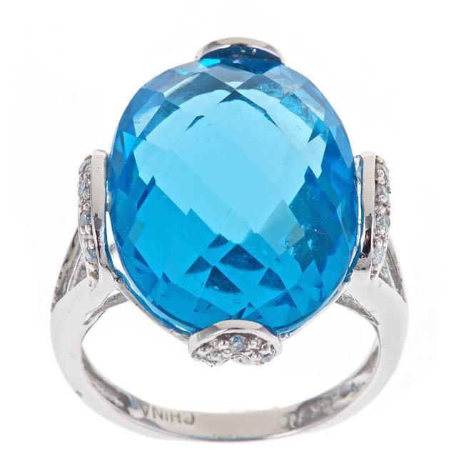 Yach 14k White Gold Blue Topaz and 1/8ct TDW Diamond Ring (G H, I1