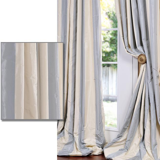 Baby Blue/ Tan Striped Faux Silk Taffeta Curtain Panel