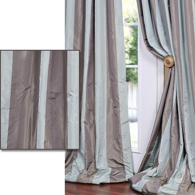 Exclusive Fabrics Mint Green/ Chocolate Striped Faux Silk Taffeta 120-inch Curtain Panel