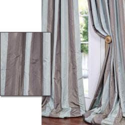 Mint Green/ Chocolate Striped Faux Silk Taffeta 96-inch Curtain Panel