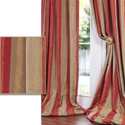 Red/ Golden Tan Striped Faux Silk Taffeta 120-inch Curtain Panel
