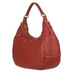 Prada Vitello Daino Red Leather Hobo Bag