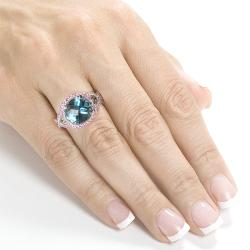 18k White Gold London Blue Topaz and Pink Sapphire Ring