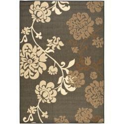 Indoor/ Outdoor Black/ Brown Rug (6'7 x 9'6)