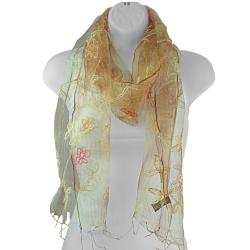 Hand spun Silk Embroidered Small Daisy Gold Scarf (India)