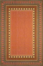 Dakota Terracotta Border Rug (7'10 Square)