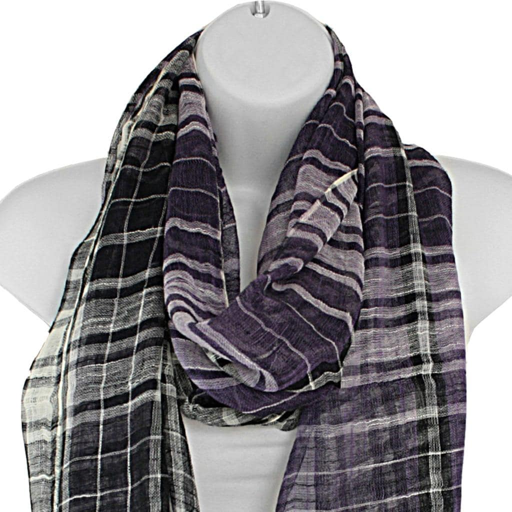 Hand woven Silk Purple and Black Plaid Scarf (India)