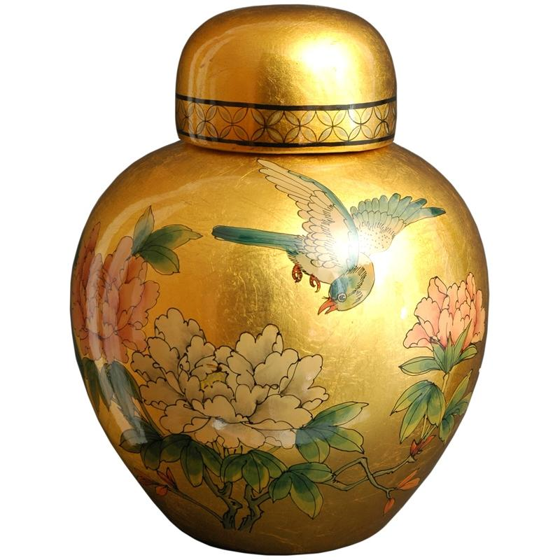 Porcelain 13-inch Gold Ginger Jar (China)