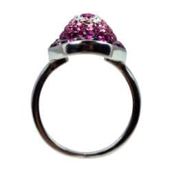 Sterling Silver Pink, Black, White Crystal Ring