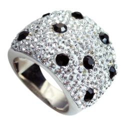 Sterling Silver White and Black Crystal Ring