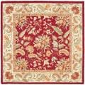 Handmade Paradise Red Wool Rug (6&#39; Square)