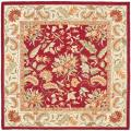 Handmade Paradise Red Wool Rug (6' Square)