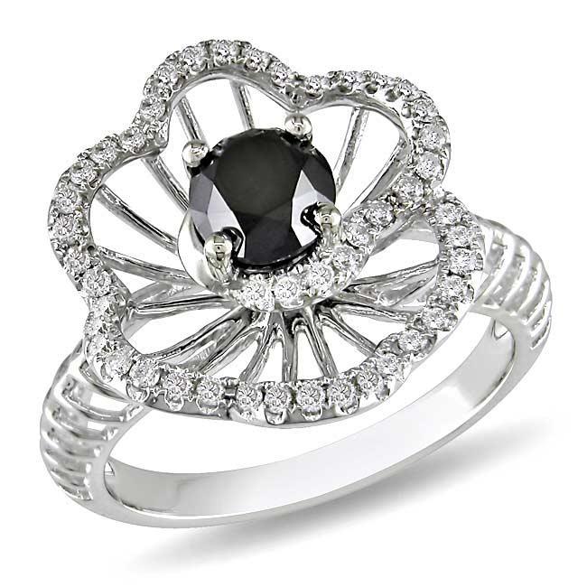 Miadora 14k White Gold 1 1/4ct TDW Black and White Diamond Ring (G-H, I1)