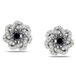 Miadora Sterling Silver 1/2ct TDW Black and White Diamond Earrings (G-H, I3)
