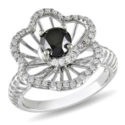 Miadora 14k White Gold 1 1/4ct TDW Black and White Diamond Ring (G-H, I1)