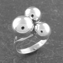 Sterling Silver Triple Beads Ring (Thailand)