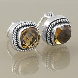 Sterling Silver Faceted Citrine Rope Edge Stud Earrings (Indonesia)