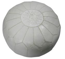 Leather White Pouf Ottoman (Morocco)