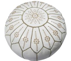 Leather White Jasmine Pouf Ottoman (Morocco)
