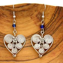 Silverplated Copper Wire Blue Beads Heart Earrings (Kenya)