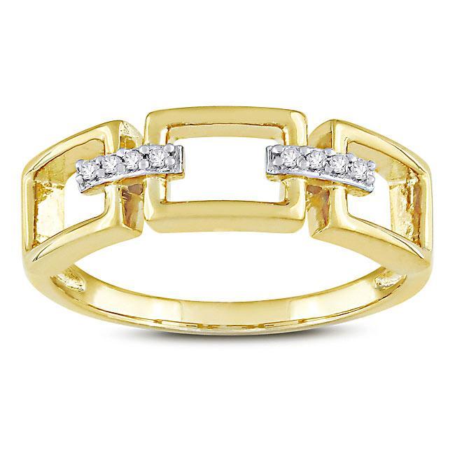 Miadora Yellow Silver Diamond Accent Link-style Ring