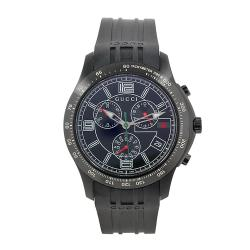 Gucci Men's Black Rubber Black Chronograph Dial Watch