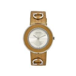 Gucci Women's U-Play Tan Leather Silvertone Dial Watch