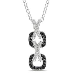 Miadora Sterling Silver 1/5ct TDW Black and White Diamond Necklace (G-H, I2-I3)