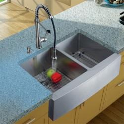 Vigo Farmhouse Stainless Steel Kitchen Sink/ Faucet/ Dispenser/ Two Grids