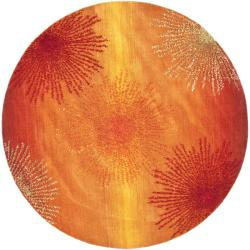 Handmade Soho Burst Rust New Zealand Wool Rug (6' Round)