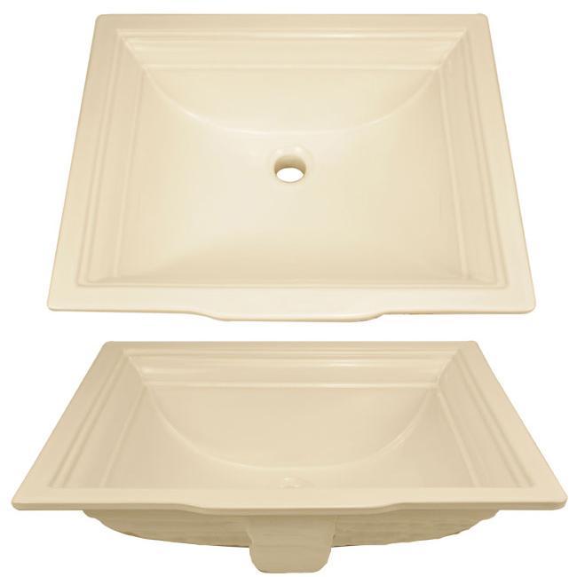 ticor undermount overmount almond porcelain vanity sink 13506210