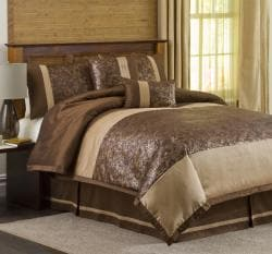 Lush Decor Metallic Crocodile Brown/ Gold 6-piece Comforter Set