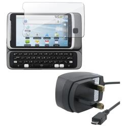 UK Travel Charger w/ Screen Protector for HTC Desire Z
