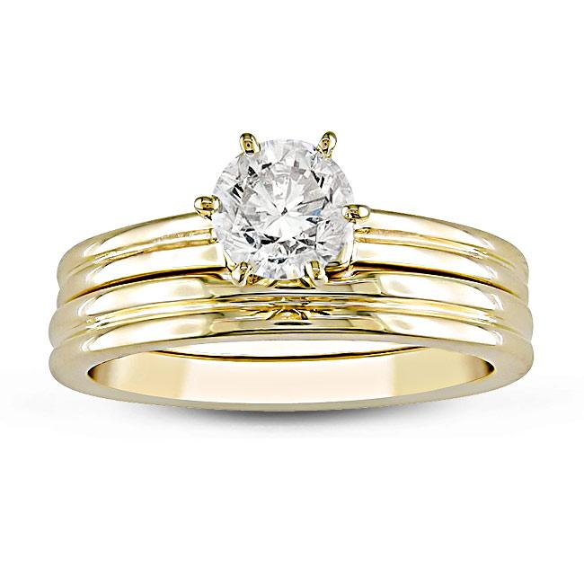 Miadora 14k Yellow Gold 1/2ct TDW Diamond Bridal Ring Set (G-H, SI1-SI2)
