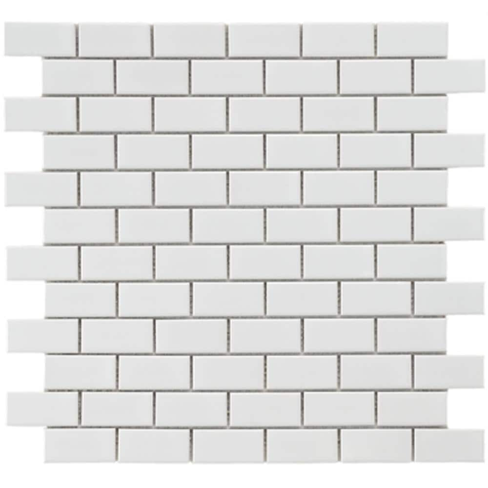 subway beveled white porcelain mosaic floor and wall tile case of 10