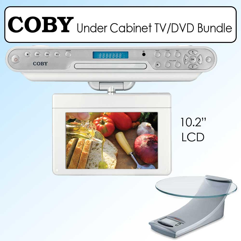 coby 10 2 inch under cabinet lcd tv dvd player and kitchen scale 13459251. Black Bedroom Furniture Sets. Home Design Ideas