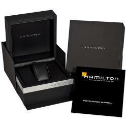 Hamilton Mens Timeless Classic Railroad Black Leather Strap Watch