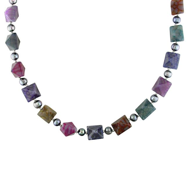 Miadora New York Pearls Sterling Silver Multicolored Agate and Pearl Necklace (7.5-8 mm)