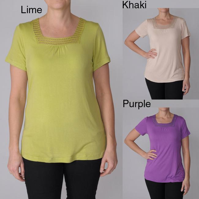 Oliver & James Adi Designs Women's Embellished Neck Tee at Sears.com
