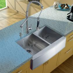 Vigo Farmhouse Stainless Steel Kitchen Sink, Faucet, Dispenser, and Two Grids