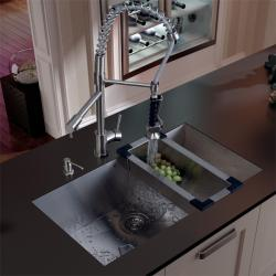 Vigo Undermount Stainless Steel Kitchen Sink, Faucet, Dispenser, and Colander