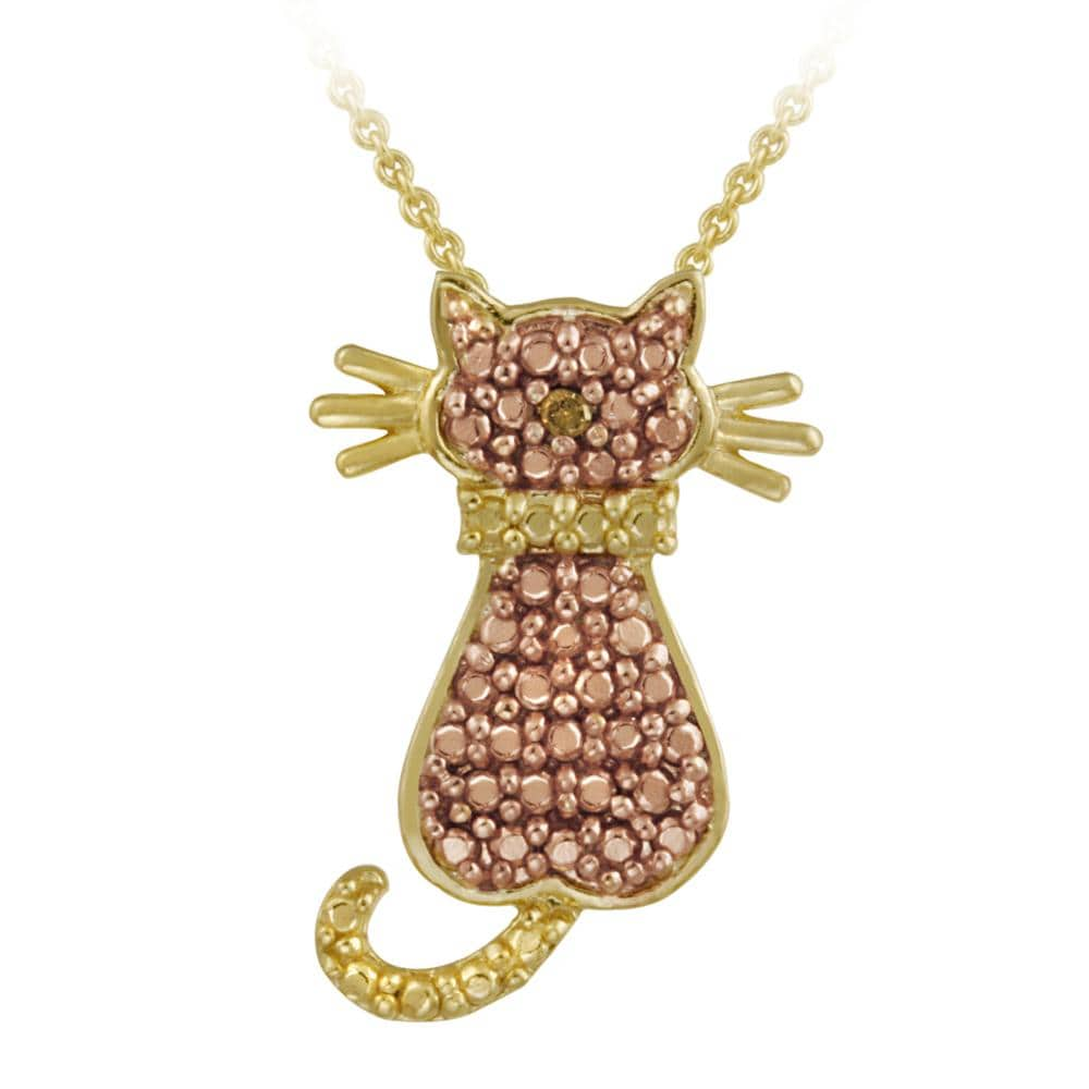 DB Designs 18k and Rose Gold over Silver Champagne Diamond Accent Cat Necklace